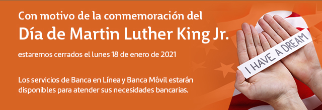 informing users we are closed on MLK day in spanish